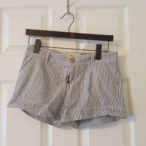 **Hollister Blue and White Striped Shorts